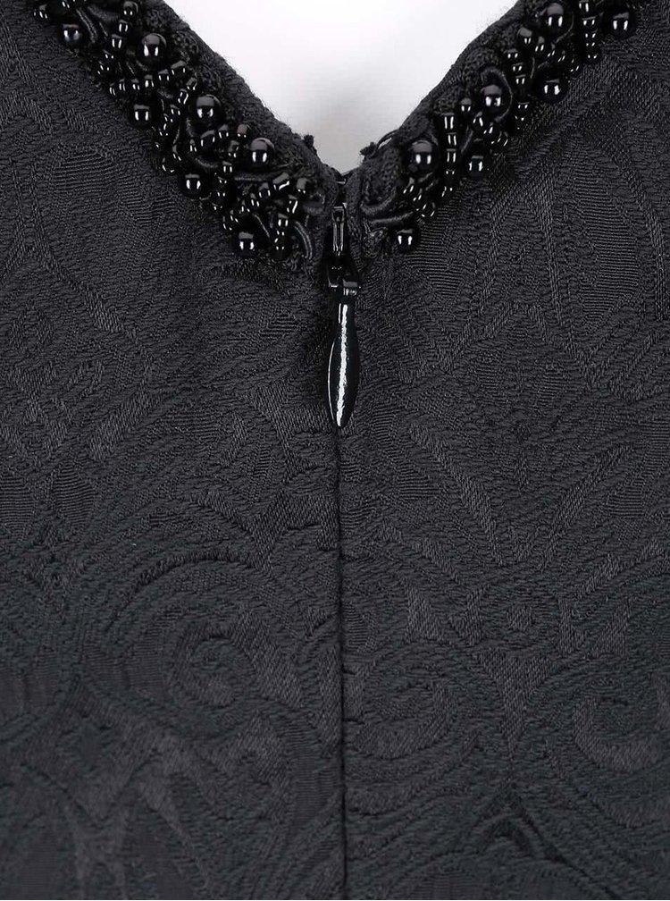 Rochie neagra cu imprimeu, cu fusta evazata, de la Fever London
