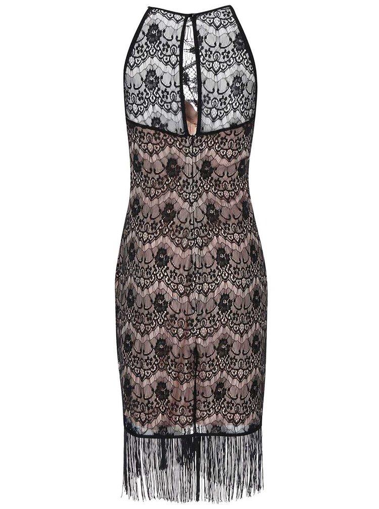 Černo-béžové krajkované šaty Lipstick Boutique Daria