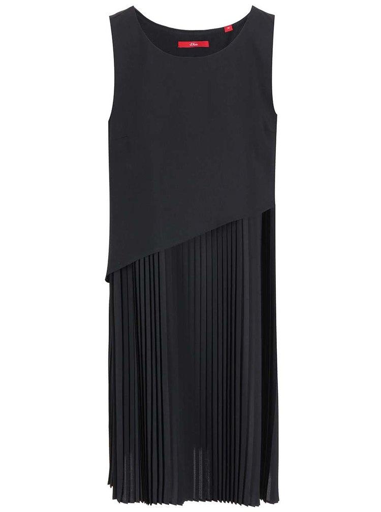 Černé šaty s plisovanou sukní s.Oliver