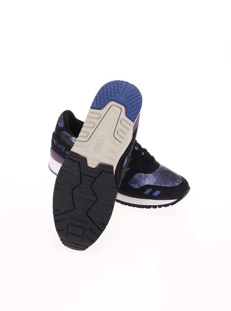 Pantofi sport de dama din piele negri cu violet ASICS Gel Lyte III
