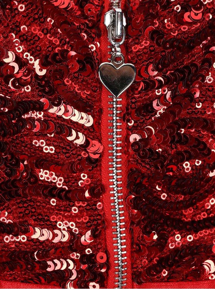 Červené šaty se zdobeným topem Goddiva