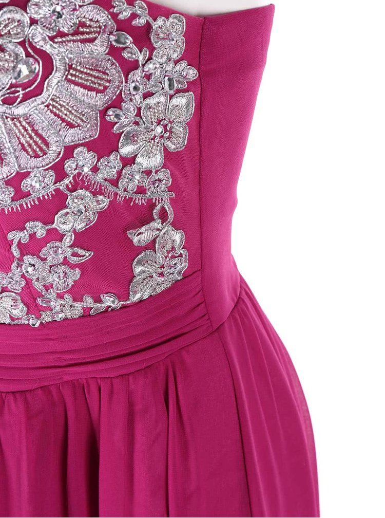 Rochie roz cu parte superioara cu model floral GODDIVA