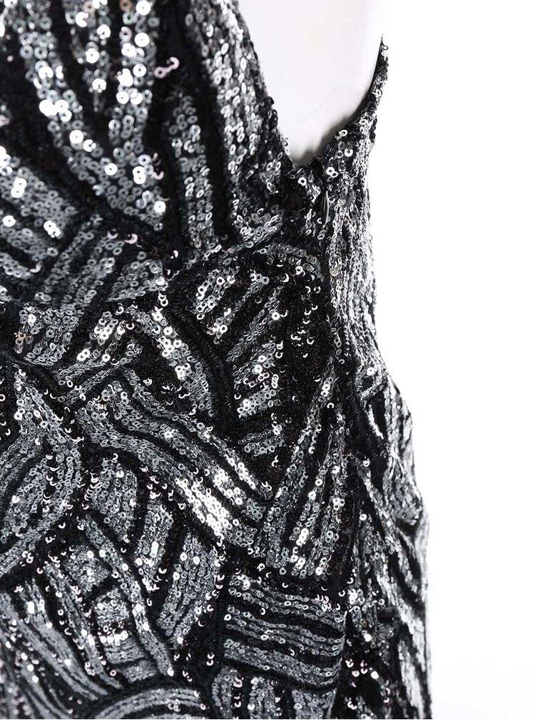 Rochie maxi cu paiete negru cu argintiu GODDIVA