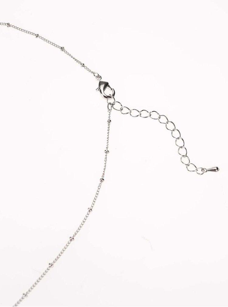 Colier cu pandant argintiu si perle sintetice Gionni Pearl