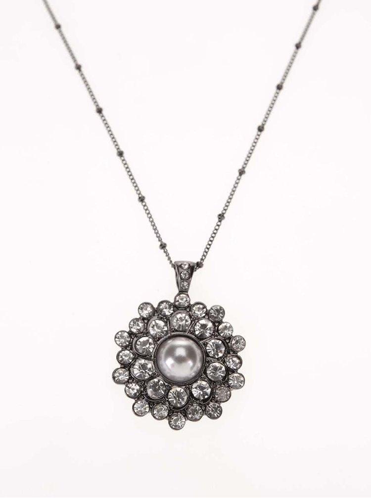 Náhrdelník s blyštivým přívěskem ve stříbrno-šedé barvě Gionni Daisy Pearl