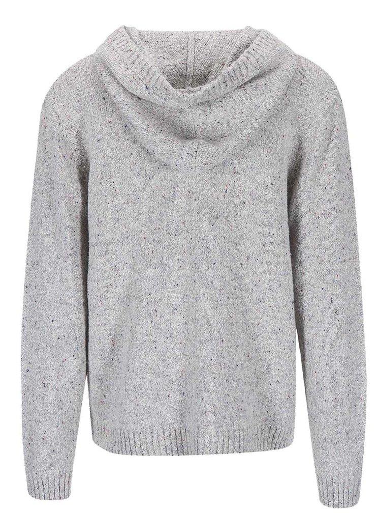 Světle šedý svetr s kapucí Quiksilver Tamworth