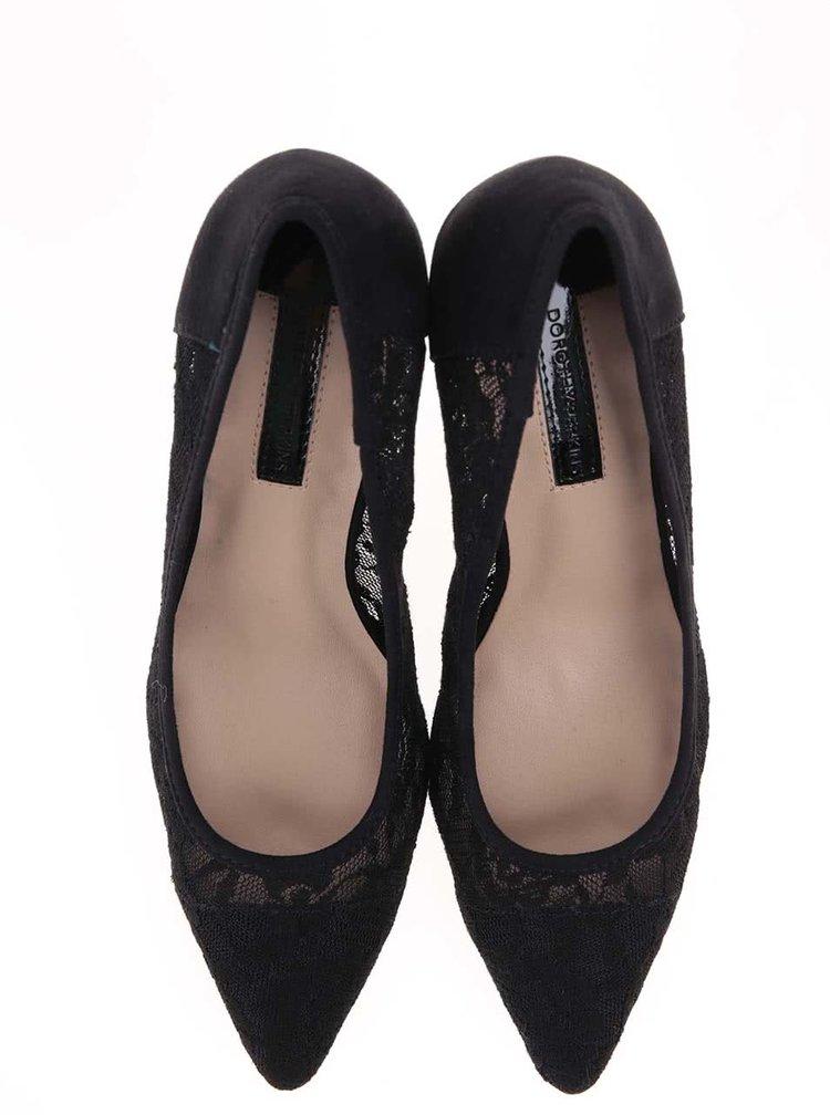 Černé krajkové lodičky na podpatku Dorothy Perkins Emie