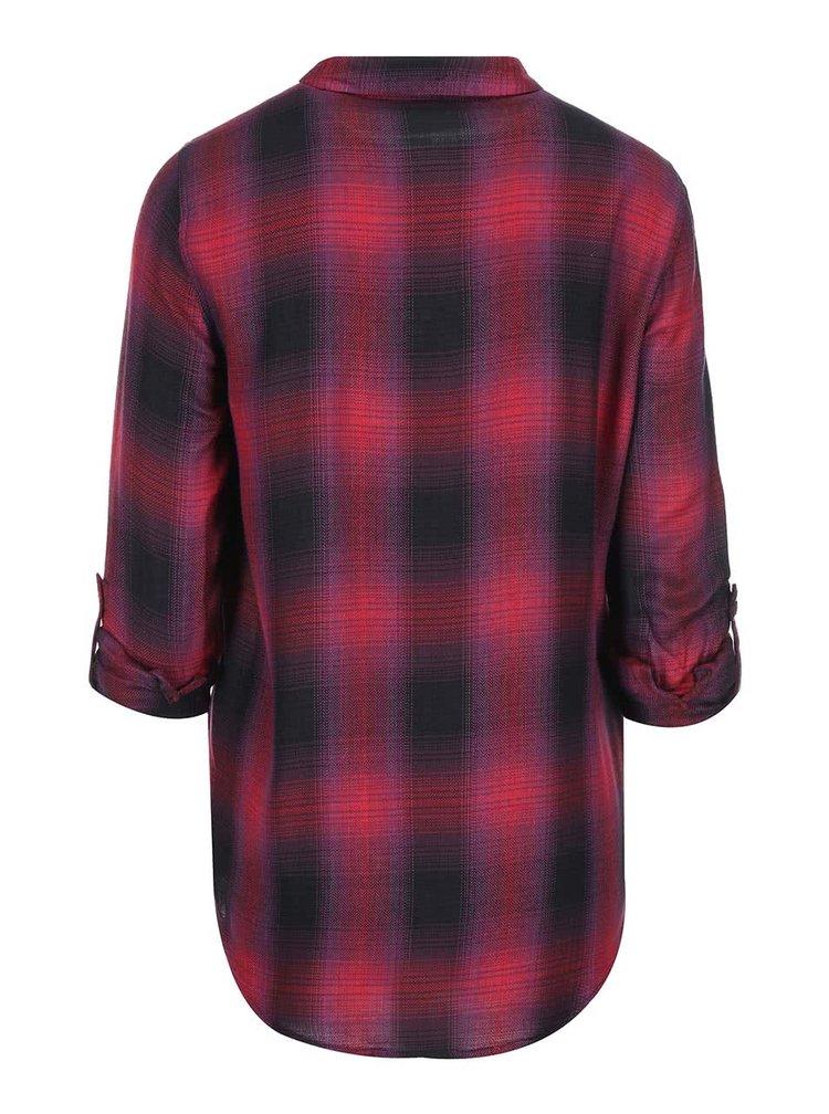 Černo-červená károvaná košile s 3/4 rukávy Dorothy Perkins