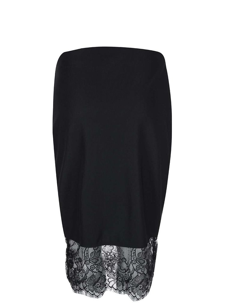 Čierna sukňa s čipkovaným lemom Dorothy Perkins