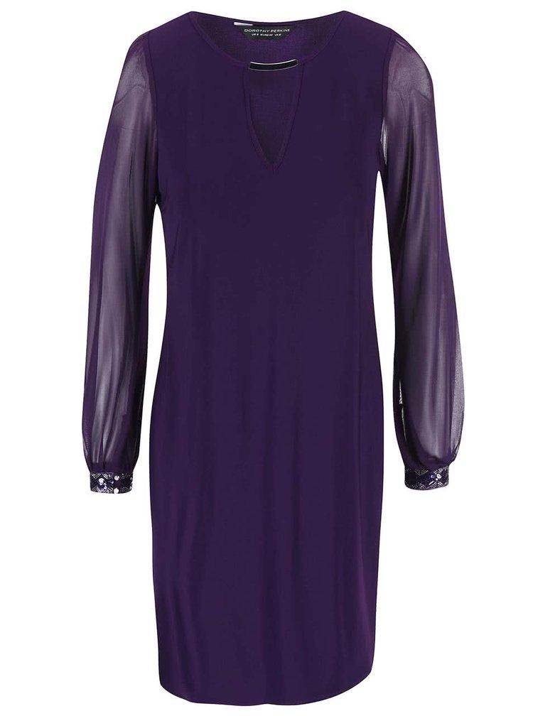 Fialové šaty s šifonovými rukávy Dorothy Perkins