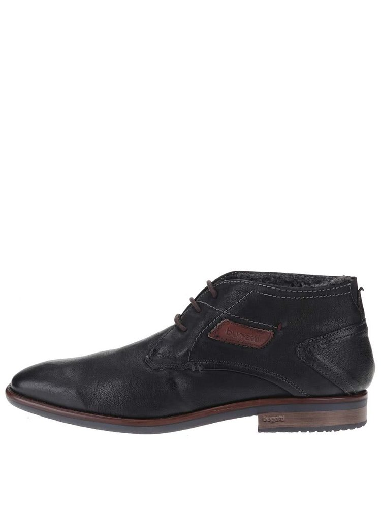 Černé pánské kožené kontíkové boty s umělou kožešinou bugatti Hugo Revo