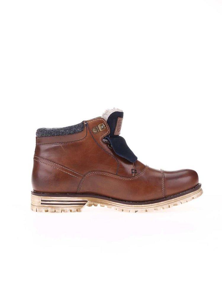Hnedé pánske kožené členkové topánky s umelou kožušinou bugatti Fox