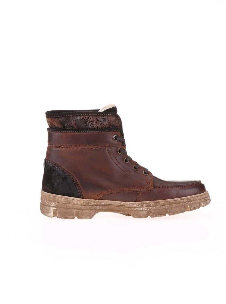 Tmavě hnědé pánské kožené kotníkové boty s umělou kožešinou bugatti Storm