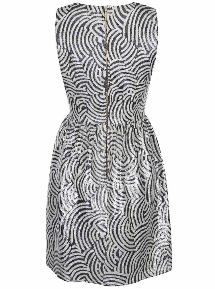 Čierno-biele vzorované lesklé šaty Closet