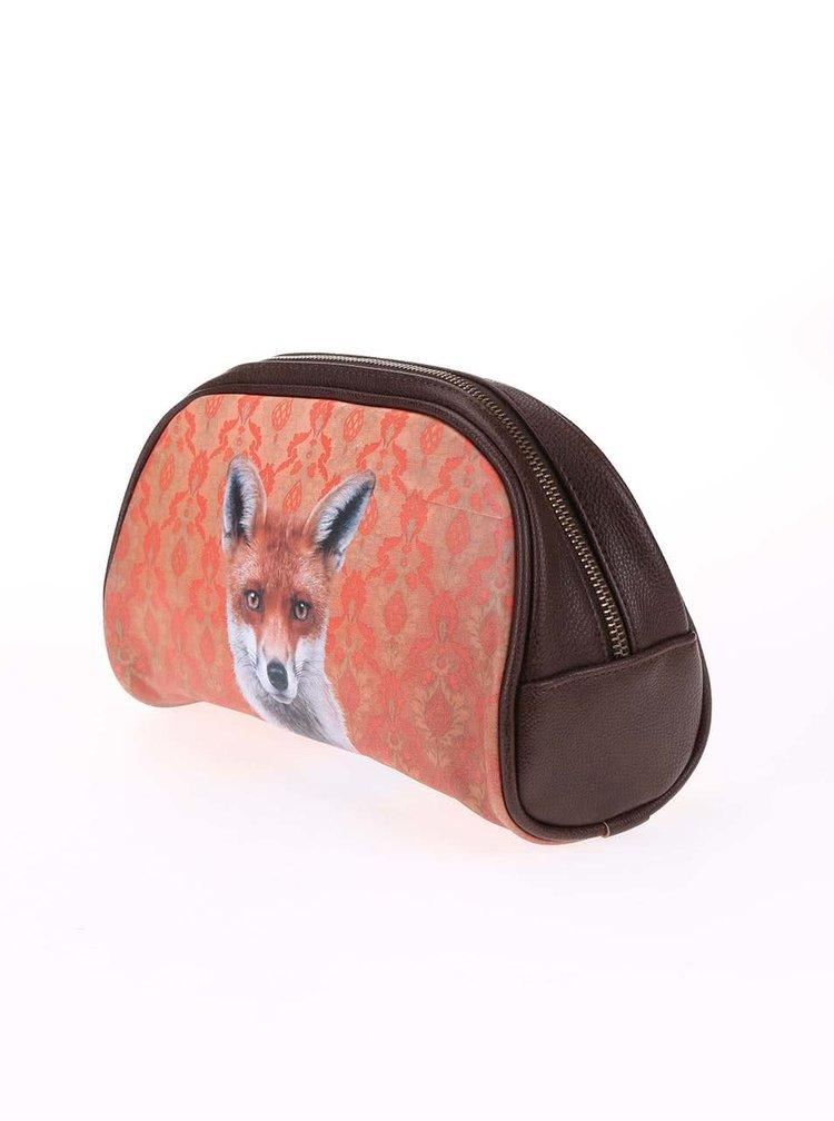 Oranžová toaletní taštička Catseye London Fox