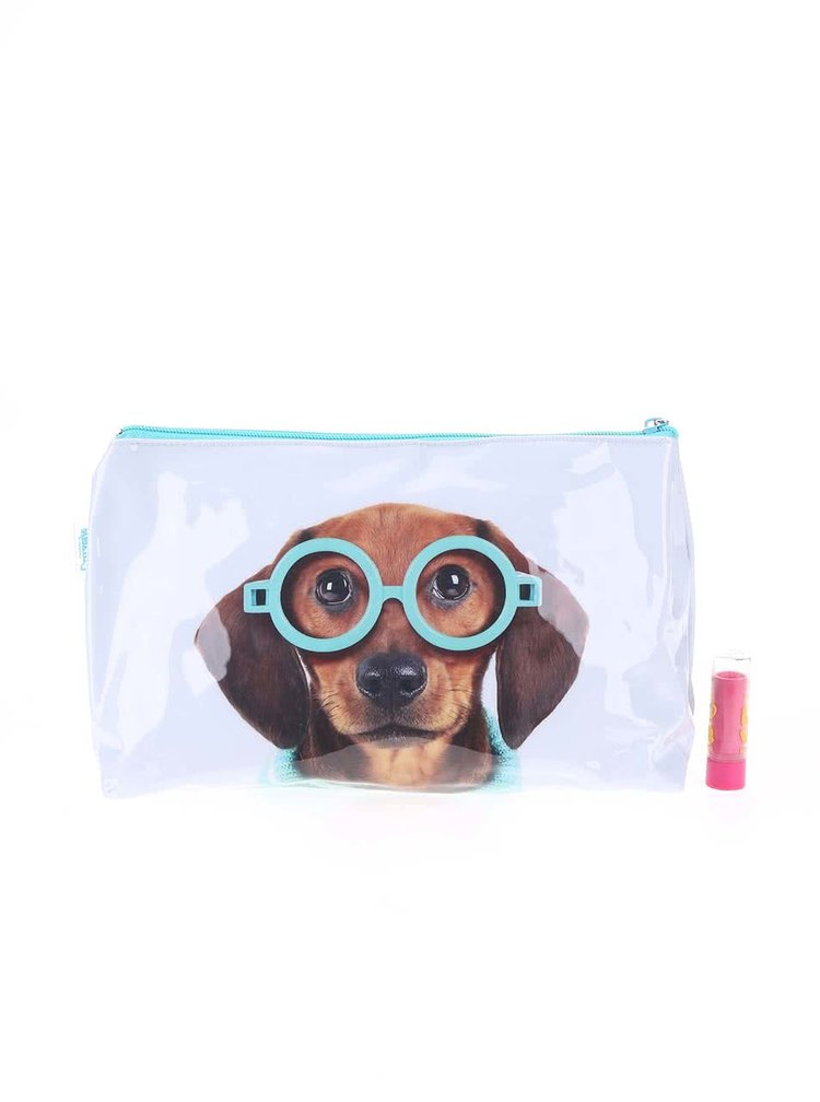 Geantă de toaletă Glasses Dog bleu de la Catseye London