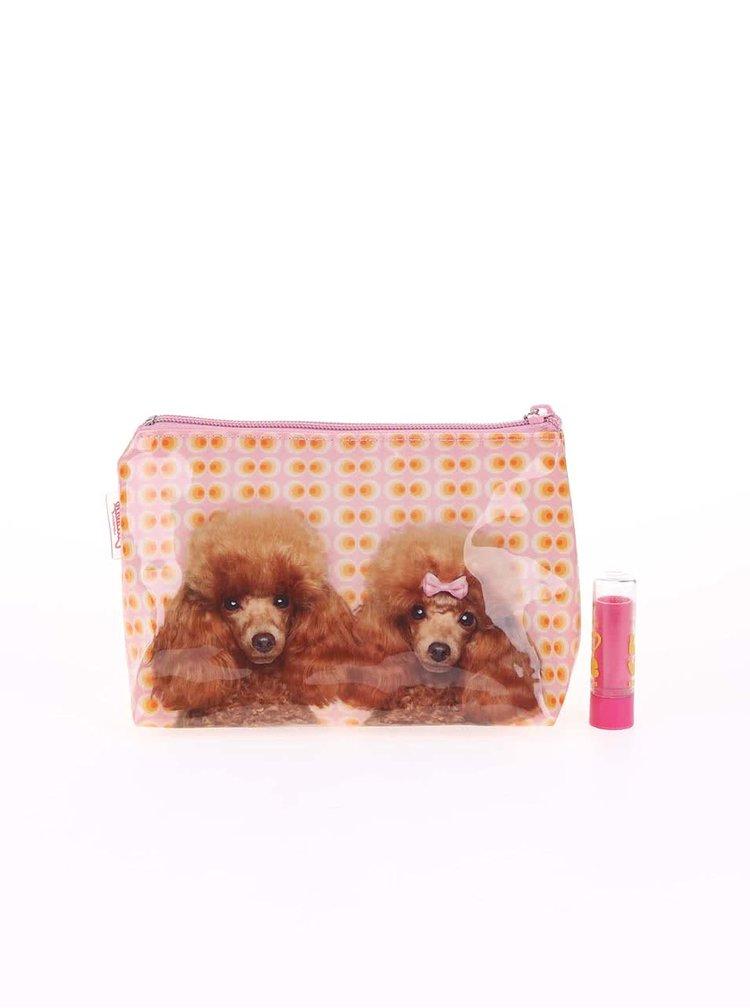 Oranžovo-ružová kozmetická taštička Catseye London Poodle Love