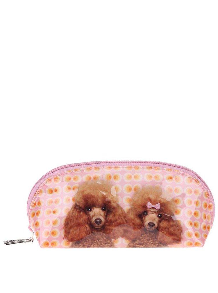 Oranžovo-růžová menší kosmetická taštička Catseye London Poodle Love