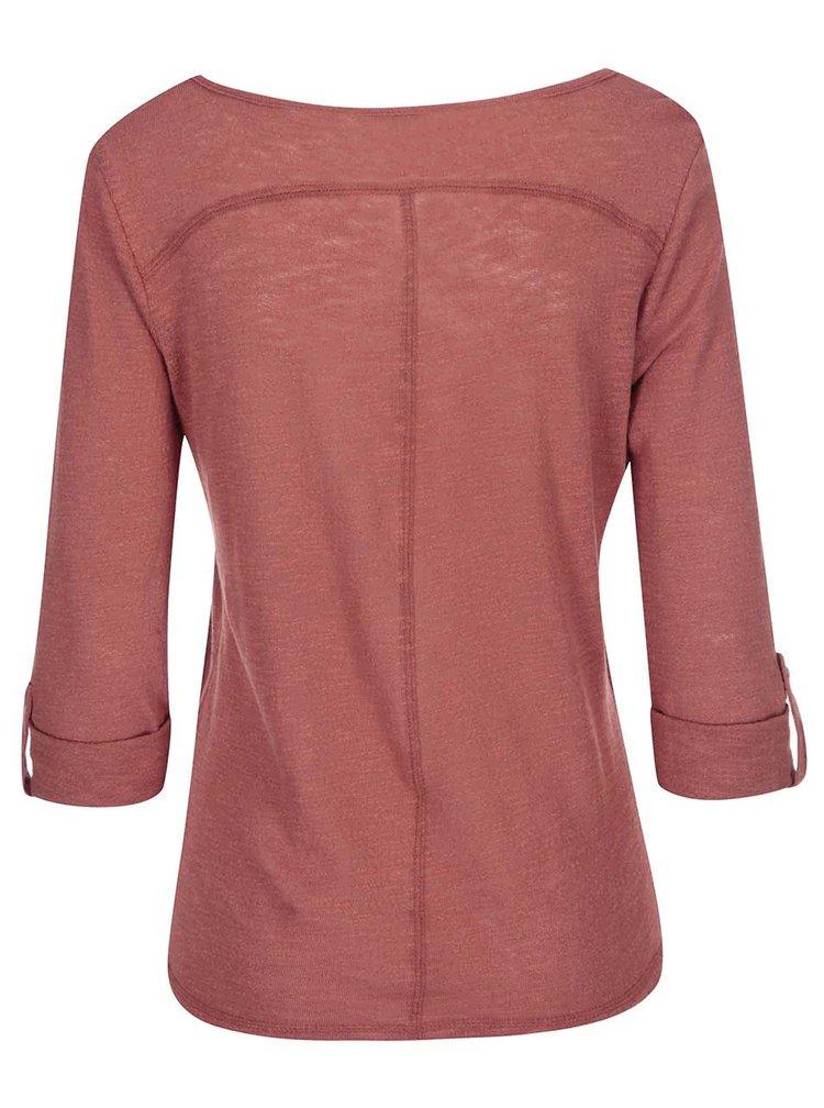 Tehlové tričko s 3/4 rukávom ONLY Jess