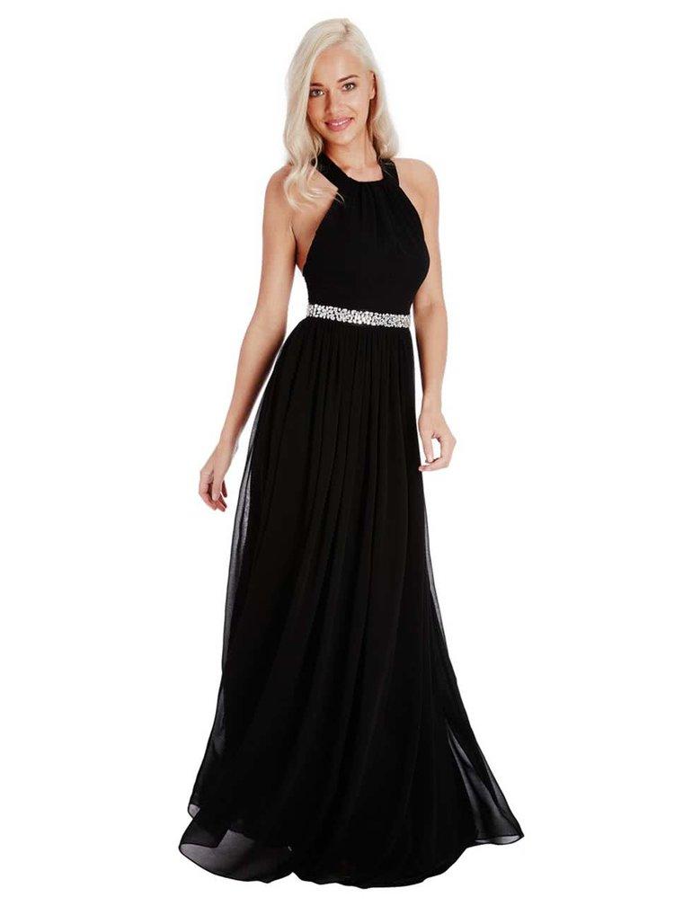 Čierne šaty so zdobeným pásom Goddiva