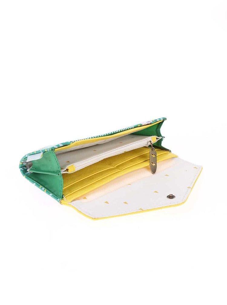 Žluto-zelená peněženka s jezevcem a květy Disaster Nordikka
