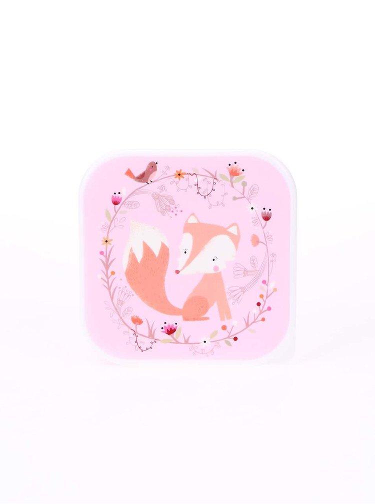 Růžový svačinový box s liškou Sass & Belle Woodland Friends
