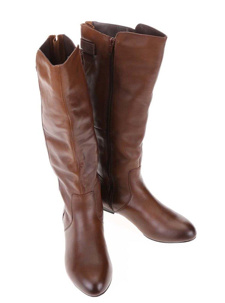 Hnedé kožené čižmy s prackou ALDO Becki