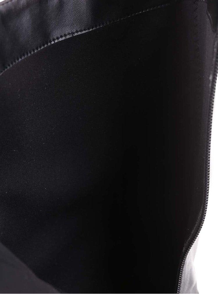Černé kožené kozačky s přezkou ALDO Becki