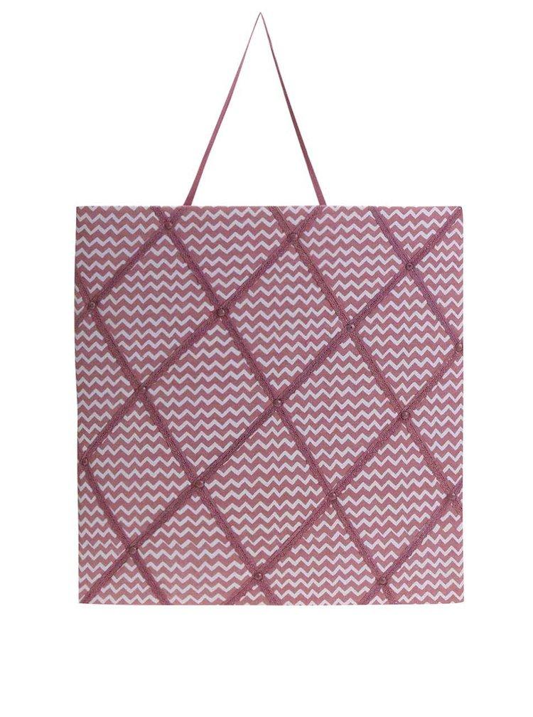 Ružová závesná tabuľa na poznámky Sass & Belle Pastel Chevron