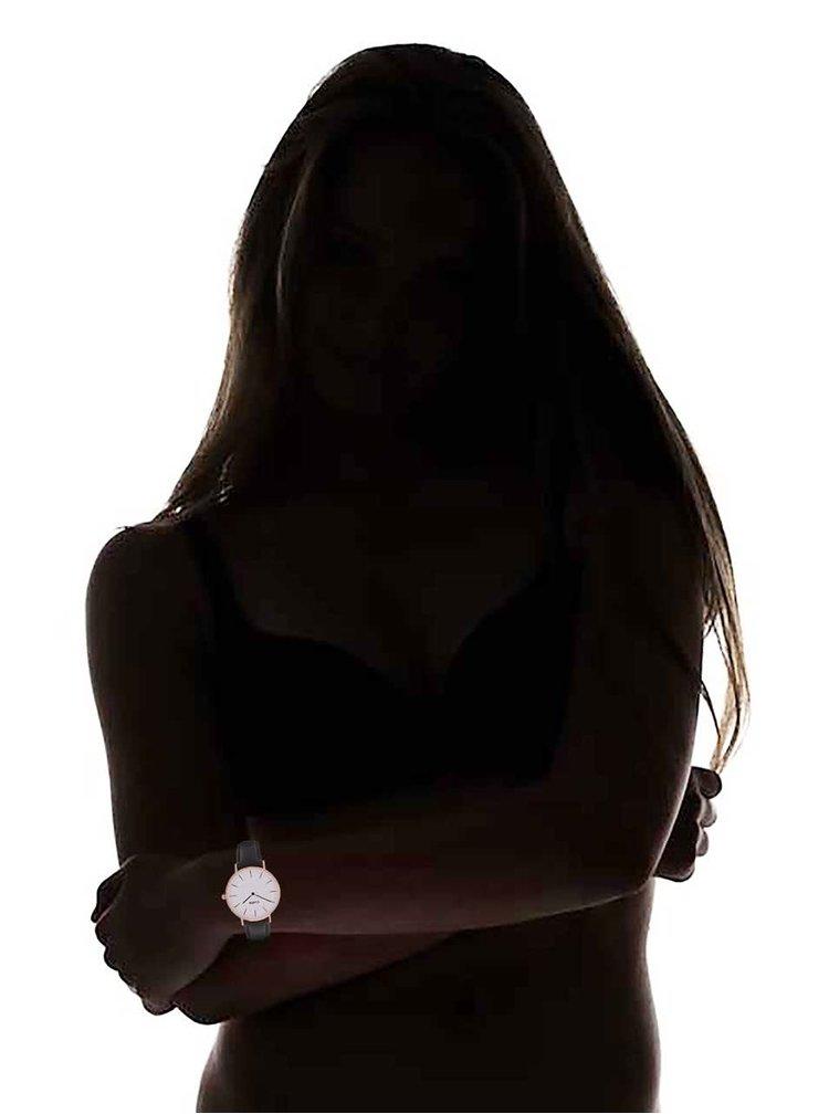 Bílo-černé dámské kožené hodinky CLUSE La Bohème Rose Gold