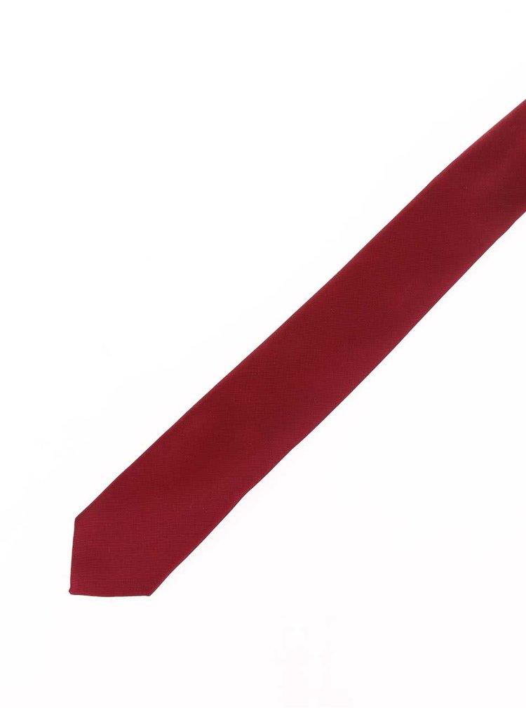 Vínová hedvábná kravata Selected Homme Plain
