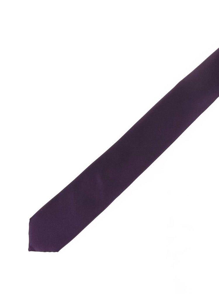 Tmavě fialová hedvábná kravata Selected Homme Plain