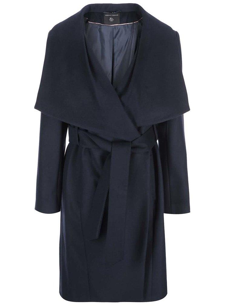 Tmavě modrý kabát na zavazování Dorothy Perkins