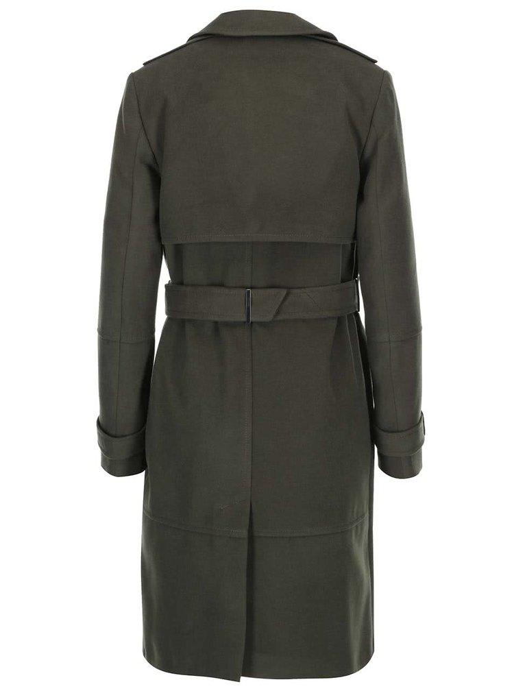Tmavě zelený oversized kabát s kapsami Dorothy Perkins