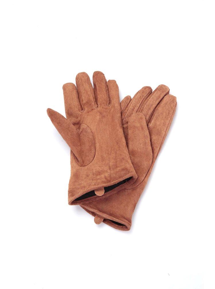 Hnědé kožené rukavice Dorothy Perkins