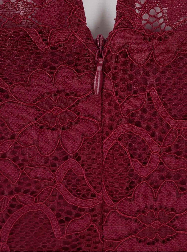 Červené čipkované šaty s 3/4 rukávmi Dorothy Perkins