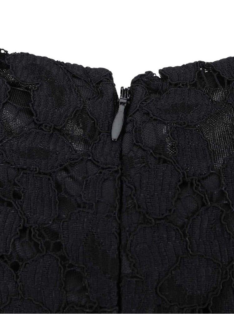 Čierne čipkované šaty s dlhým rukávom Dorothy Perkins