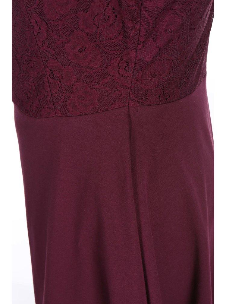 Vínové šaty zdobené čipkou Dorothy Perkins Curve