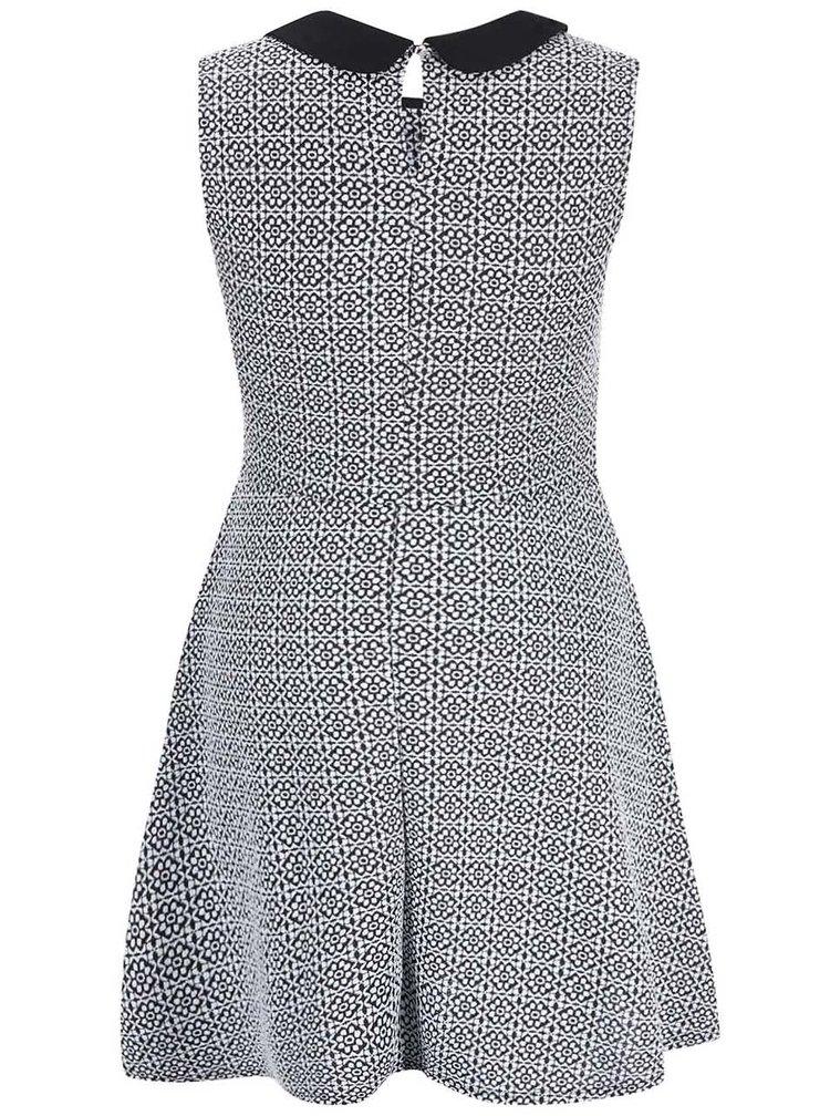 Bielo-čierne vzorované šaty s golierom Dorothy Perkins Curve