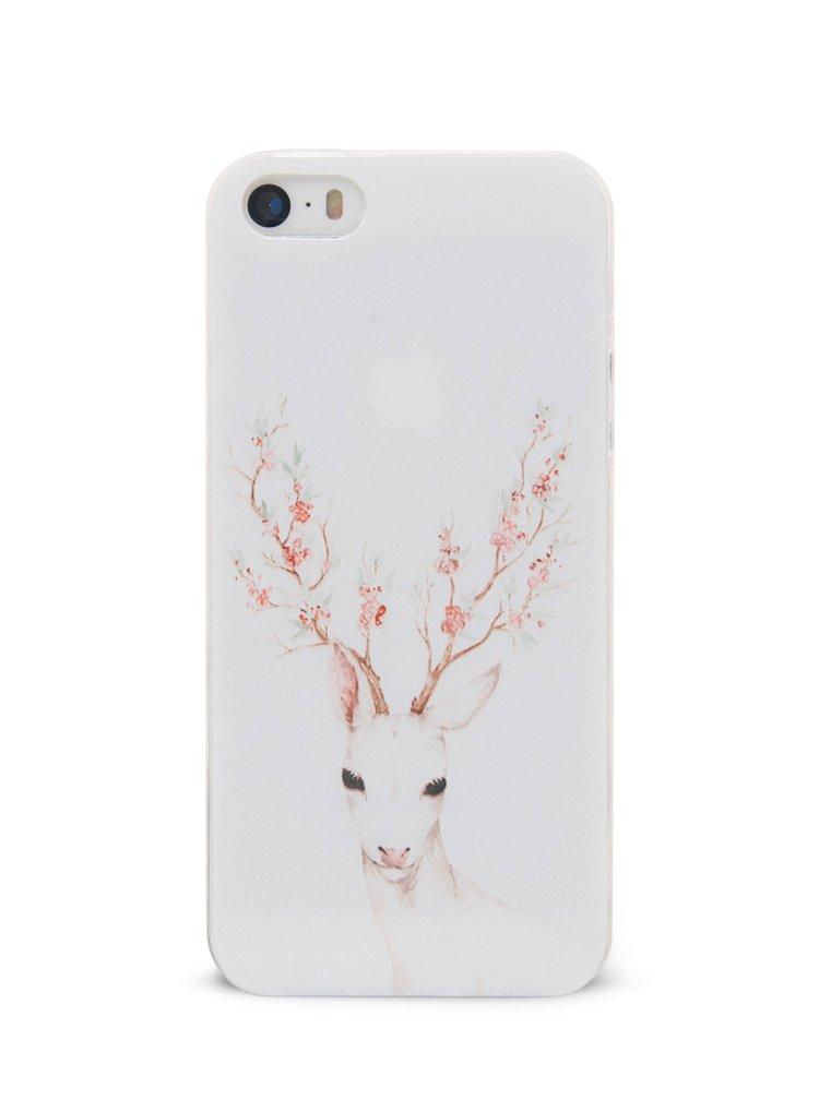 Bílý pružný plastový kryt pro  iPhone 5/5S Epico Deer