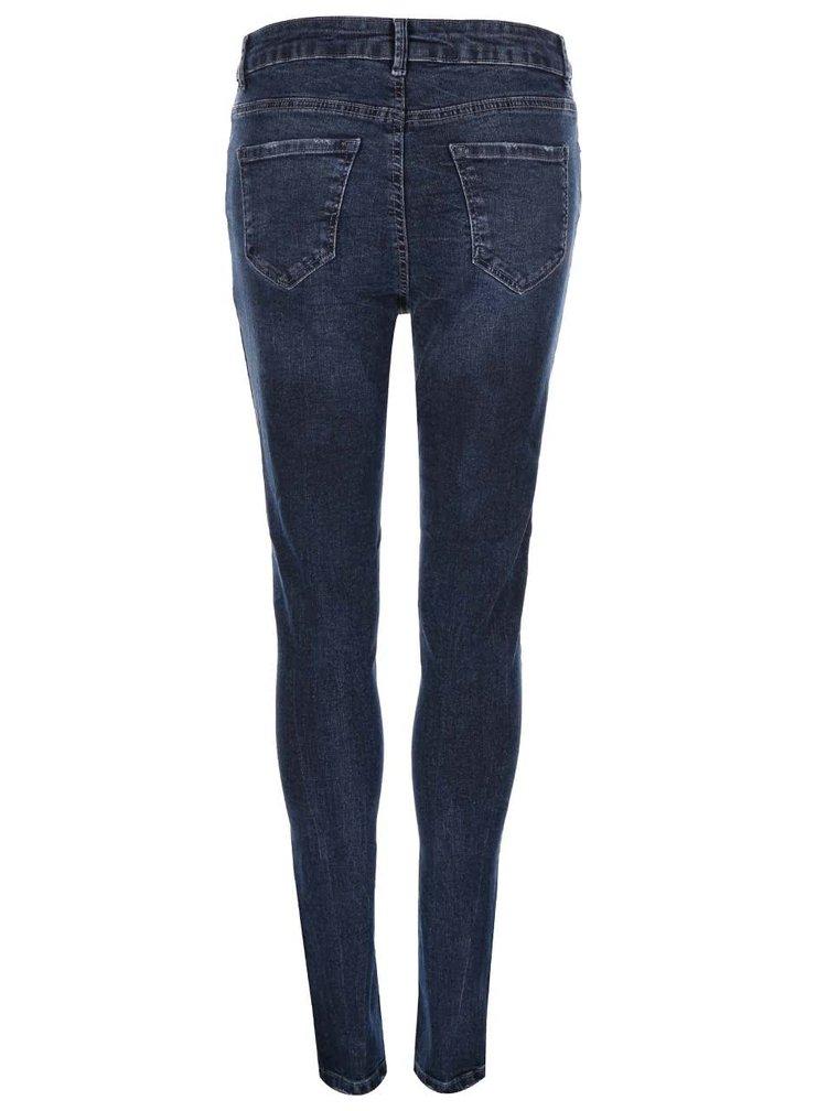 Modré skinny džíny s potrhaným efektem New Look