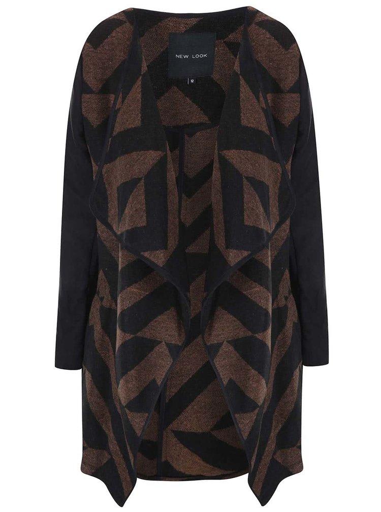 Hnědo-černý vzorovaný cardigan New Look