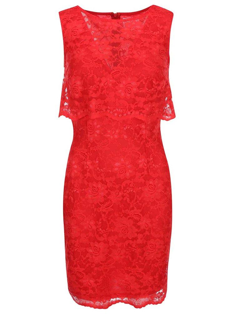Červené čipkované šaty bez rukávov Lipstick Boutique Lucia