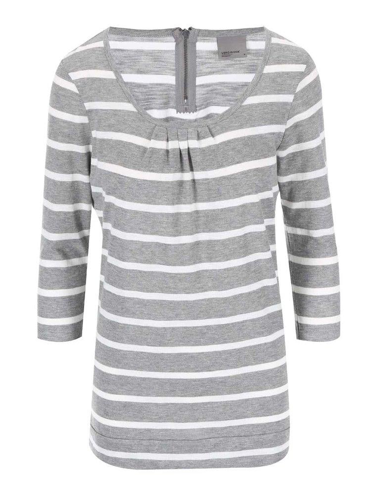 Bílo-šedé pruhované tričko VERO MODA Hope