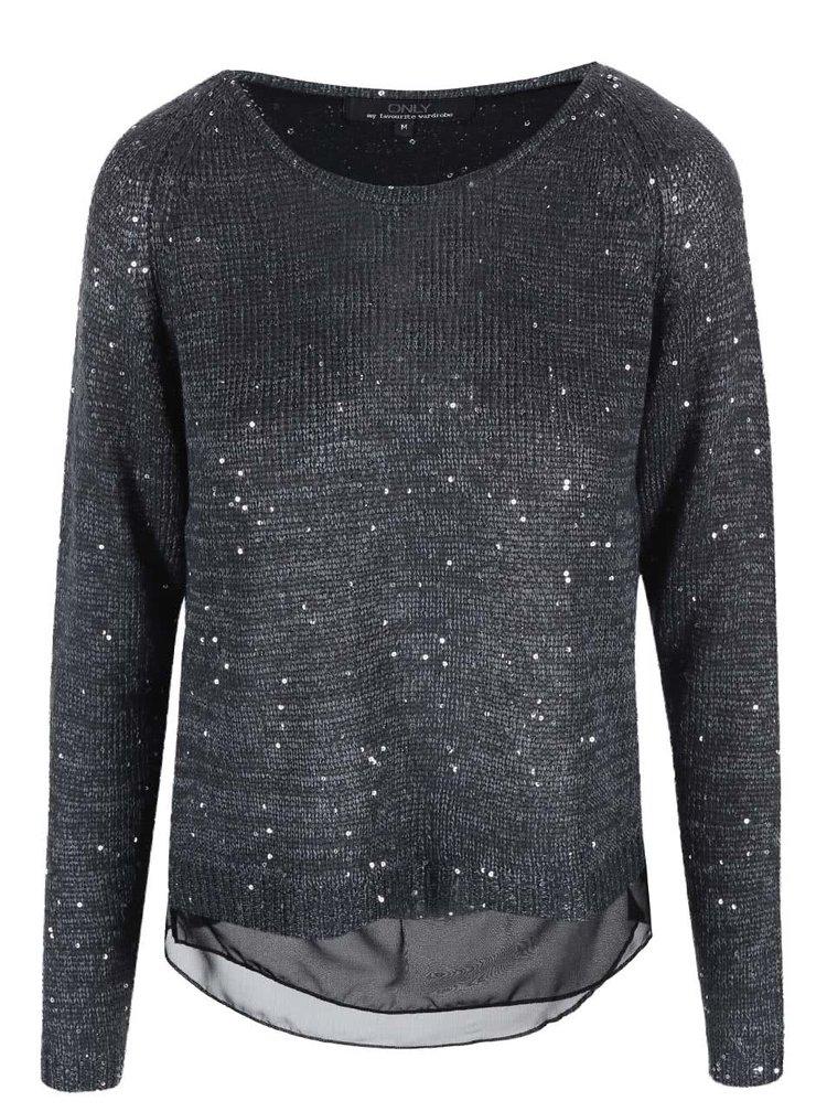 Sivý voľnejší sveter s flitrami ONLY Adelyn