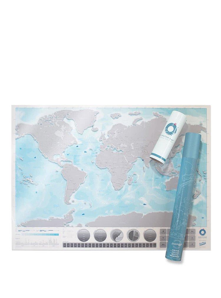 Veľká nástenná stieracia mapa sveta Luckies Oceans