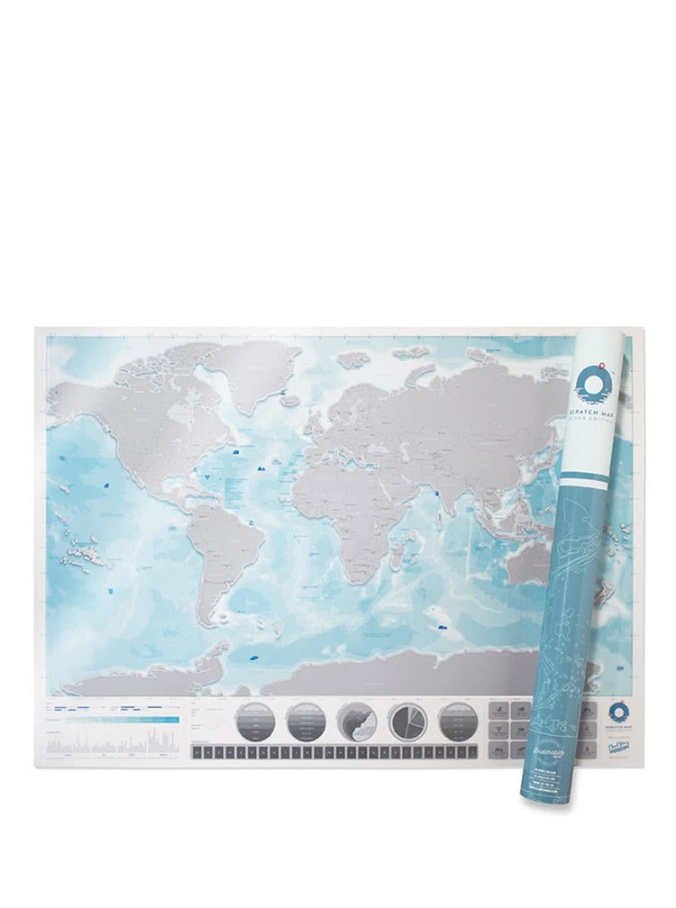 Velká nástěnná stírací mapa světa Luckies Oceans