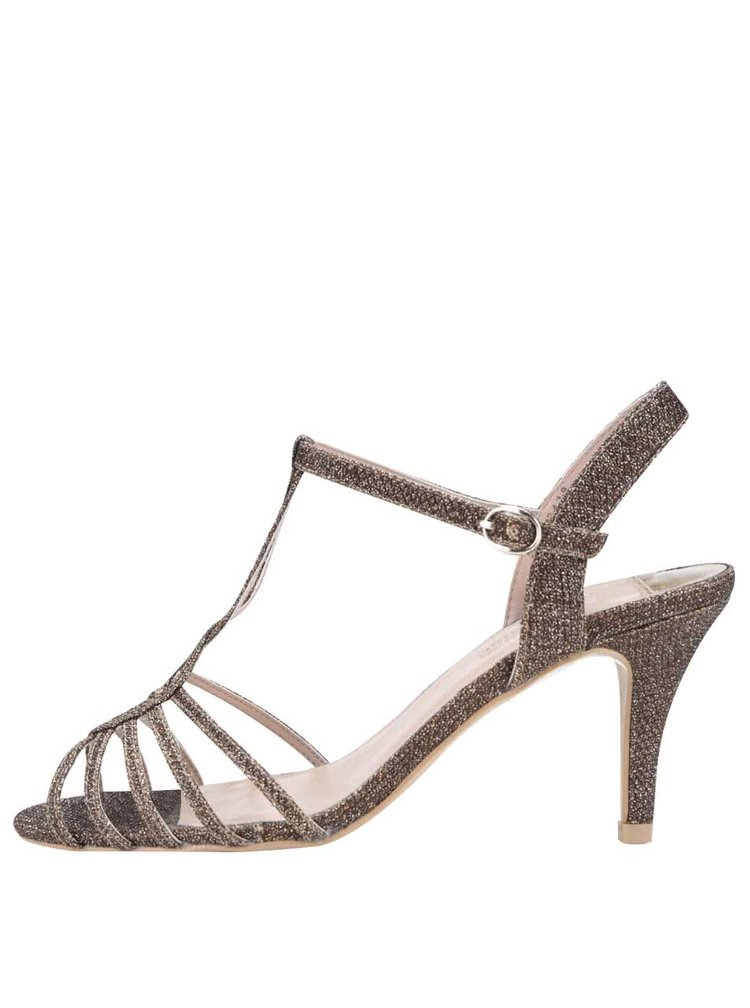 Trblietavé sandálky v zlatej farbe na podpätku Dorothy Perkins
