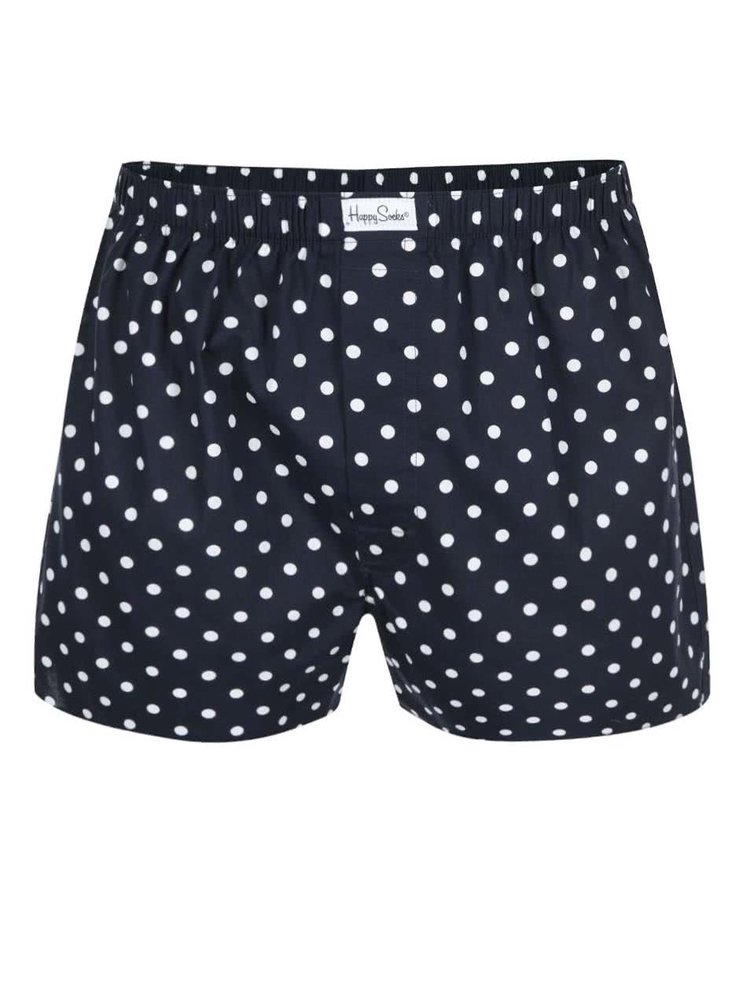 Tmavomodré trenírky s bielymi bodkami Happy Socks Dots