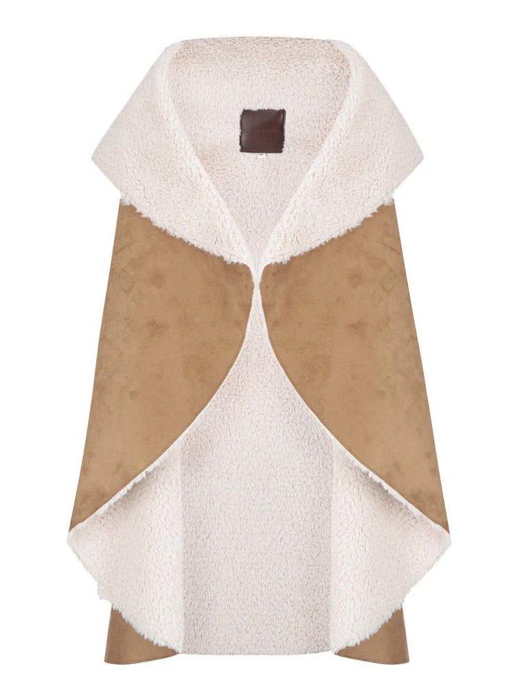 Hnědá vesta s umělou kožešinou New Look